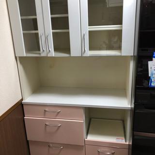 カップボード 食器棚 引き取り優先 ピンク色