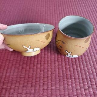 【無料】ウサギ柄のお茶碗と湯飲み