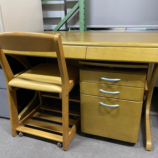 カリモク 学習机 平机 ワゴン 椅子セット