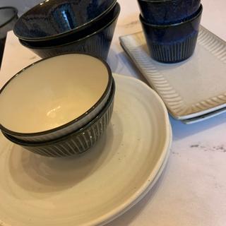 【ネット決済】食器10点セット*ホワイト×ネイビー