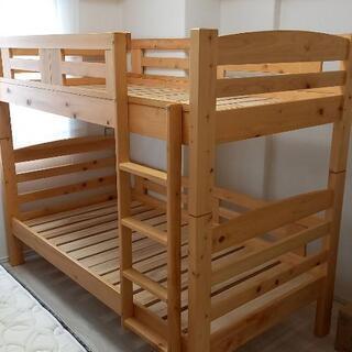 日本製ひのき コンパクト二段ベッド 蜜蝋ワックス仕上げ