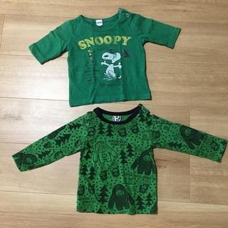 ベビーこども80 7分丈と長袖シャツ 緑色グリーン スヌーピーS...