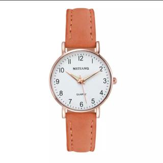 レディース オレンジブラウン腕時計 シンプルな腕時計