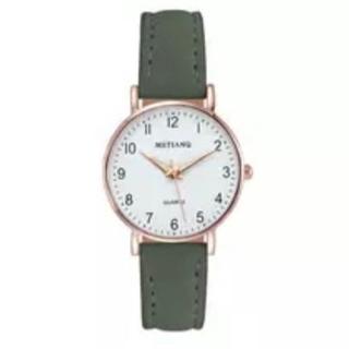 レディース モスグリーン腕時計 シンプルな腕時計