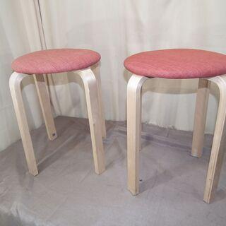 木製丸椅子 2個 ダイニングスツール  ダイニング スツー…