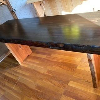 ウォールナット 風 杉板 天板 215×61cm板厚7cm…