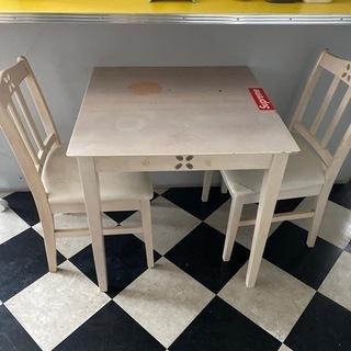 テーブルセット 椅子2個