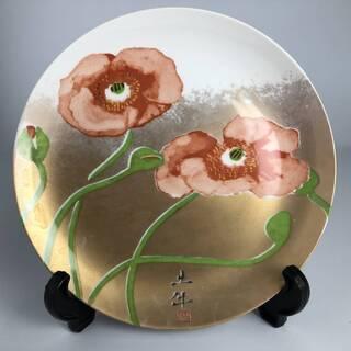 ⭕⭕⭕na1/4 奥村土牛 『 花 』 飾り皿 直径23.5cm...