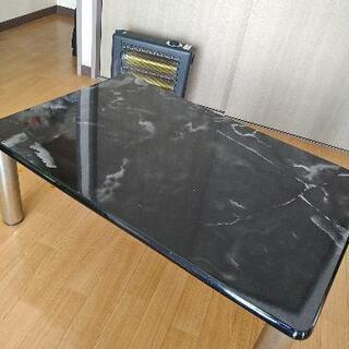 ★テーブル 机 大理石柄 ブラック (足外せます)