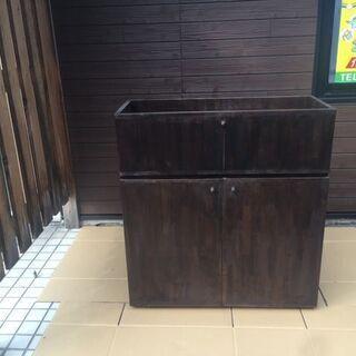 [中古品、先着2名] 木製造作家具 収納+観葉植物置き 戸棚 両...