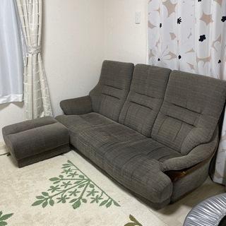 決まりました!3人掛けソファ、オットマンセット