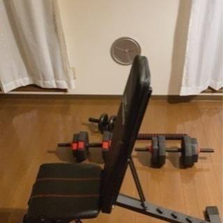 ダンベル20kg×2、トレーニングベンチ、腹筋ローラー