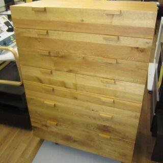 R082 高級 国産 常盤家具 ハイチェスト、天然木、幅105c...
