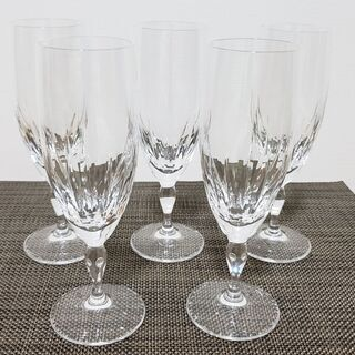 クリスタルガラス ワイン(シャンパン)グラス 5個セット