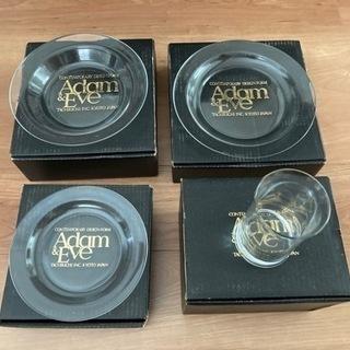 アダムとイブ 透明ガラスセット 大・中・小の皿各5枚 グラ…