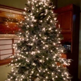 2.28m アメリカン・クリスマスツリー ライト、スノー、松ぼっ...