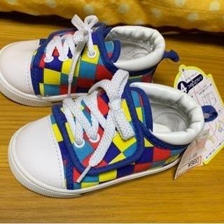 新品☆子供靴キッズシューズ14㎝マジックシューズ チェック…