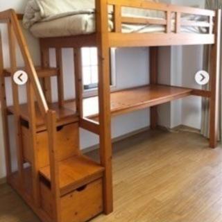 木製ロフトベッド 階段付き