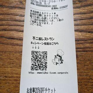 不二家レストラン川口青木店 お食事20%OFFチケット
