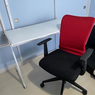 格安!セット パソコンデスク 勉強机 ホワイト 赤 白 椅子