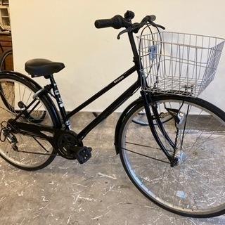 【LEDオートライト】6段変速 27インチ 自転車 ブラック