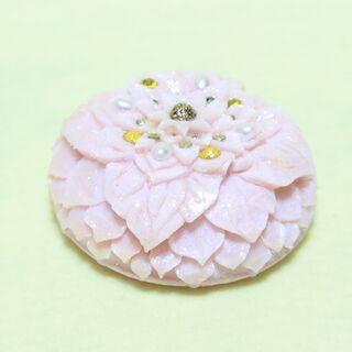 手作りソープカービング 薄ピンク花弁 ソープフラワー