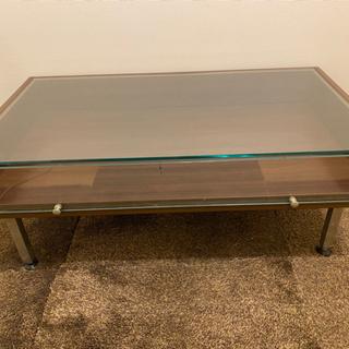 ガラス製ローテーブル 引き出しつき