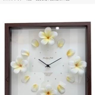 clock ハワイアン プルメリア 壁掛け時計ラインストーン 高級時計