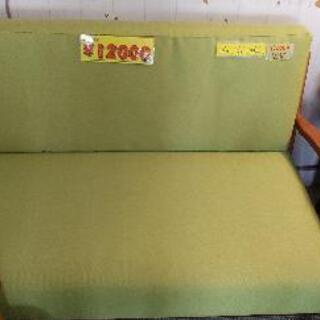 木枠ソファー二人用★グリーン41910