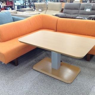 ニトリ L字型ソファー 昇降式テーブル付き リビングダイニ…