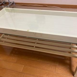 ローテーブル ガラス 白