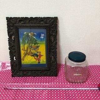 10/23終了バリ風 額 ファブリックパネルとガラス瓶