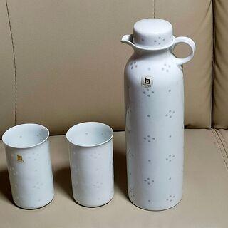 (未使用)白山陶器 ウォーターピッチャー 蛍手陶器 コップ2個付き