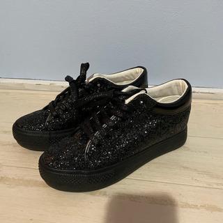 格安!新品 ラメ スニーカー 靴 黒 ブラック