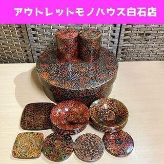 津軽塗 茶櫃 直径31.5cm お茶セット 茶托 唐塗 茶筒 匙...