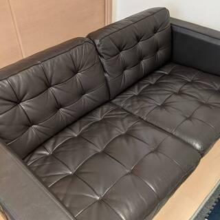 イケア 二人掛け 一人掛け ソファー セット 黒 皮?合皮?