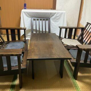 カリモク応接セット【テーブル、椅子5脚】