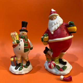 クリスマス 陶器の置物 サンタ&スノーマン