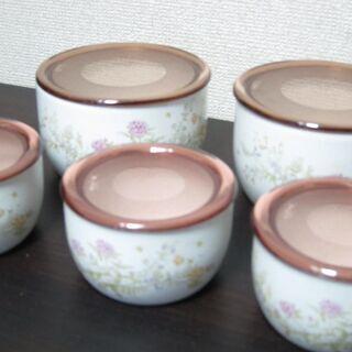 未使用☆陶器ストッカー5点セット 大小5個のフタ付き容器 …