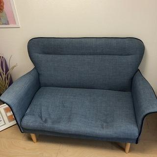 【ジャンク】フランフランの2人掛けソファ ブルー