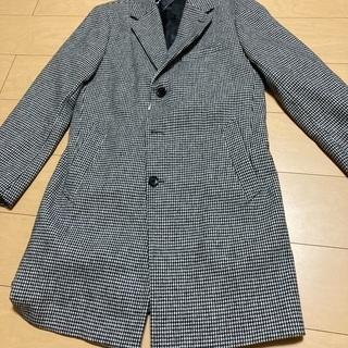 秋冬用 ロングコート メンズ上着服 チェスター 白黒ギンガムチェック柄