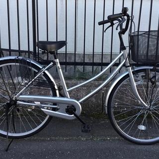 <美品車>ママチャリ・26インチ自転車・シルバー 鍵付き