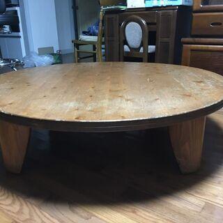 あげます。円形ローテーブル。上質な無垢木材製。