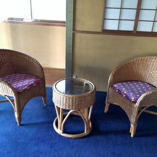 ★ラタン 藤 リビングセット 椅子2客 ガラステーブル1個 丸テ...