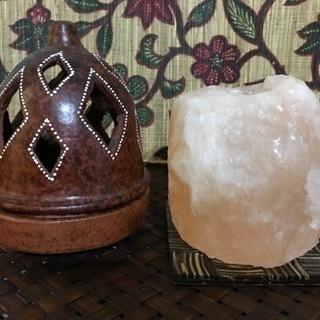 岩塩ランプ & お香立て(陶器)