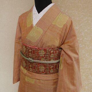 梅模様の袷着物と更紗模様の名古屋帯のセット
