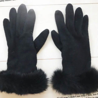 【ネット決済・配送可】【未使用】ファー付き 手袋