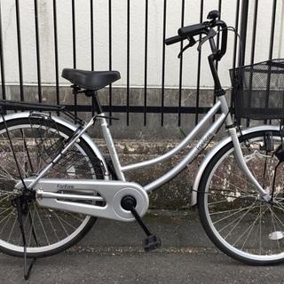 <美品車>ママチャリ・24インチ自転車・シルバー 鍵付き
