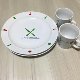 オマケ プレート皿2枚 マグカップ2個 中古品