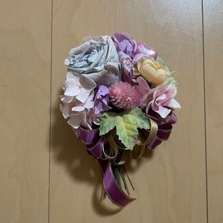 ブリザードフラワー コサージュ 紫 パープル